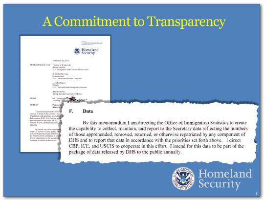DHS' commitment to transparency includes directing the office of immigration statistics to work with components to collect, maintain and support information.