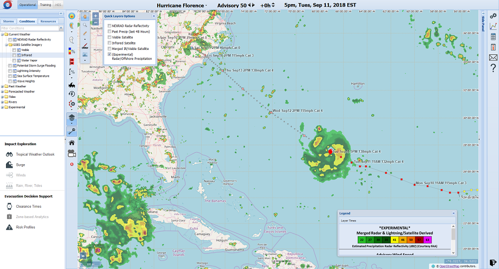 Screenshot of HURREVAC application during hurricane Florence