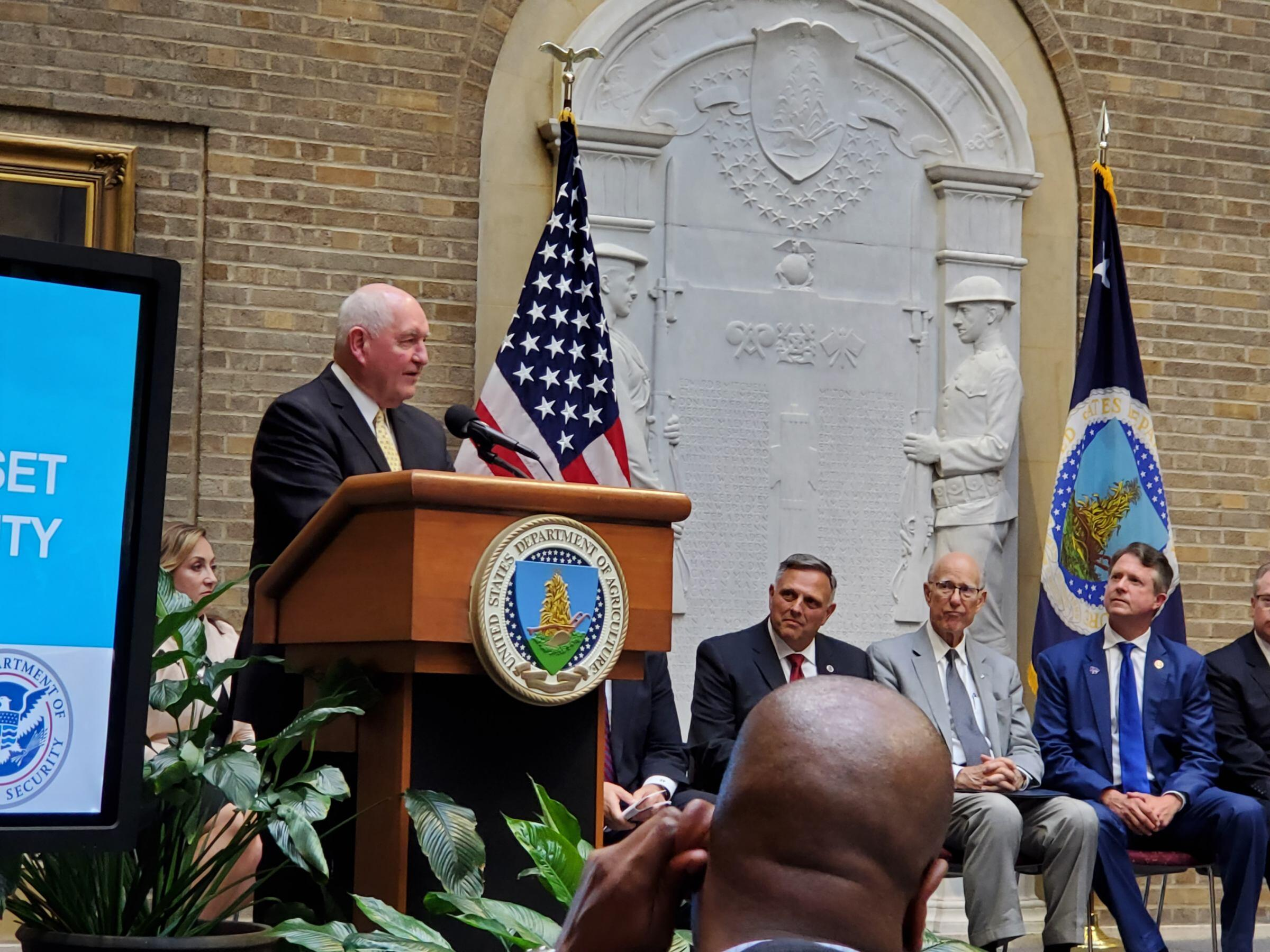 USDA Secretary Sonny Perdue speaks at the event.