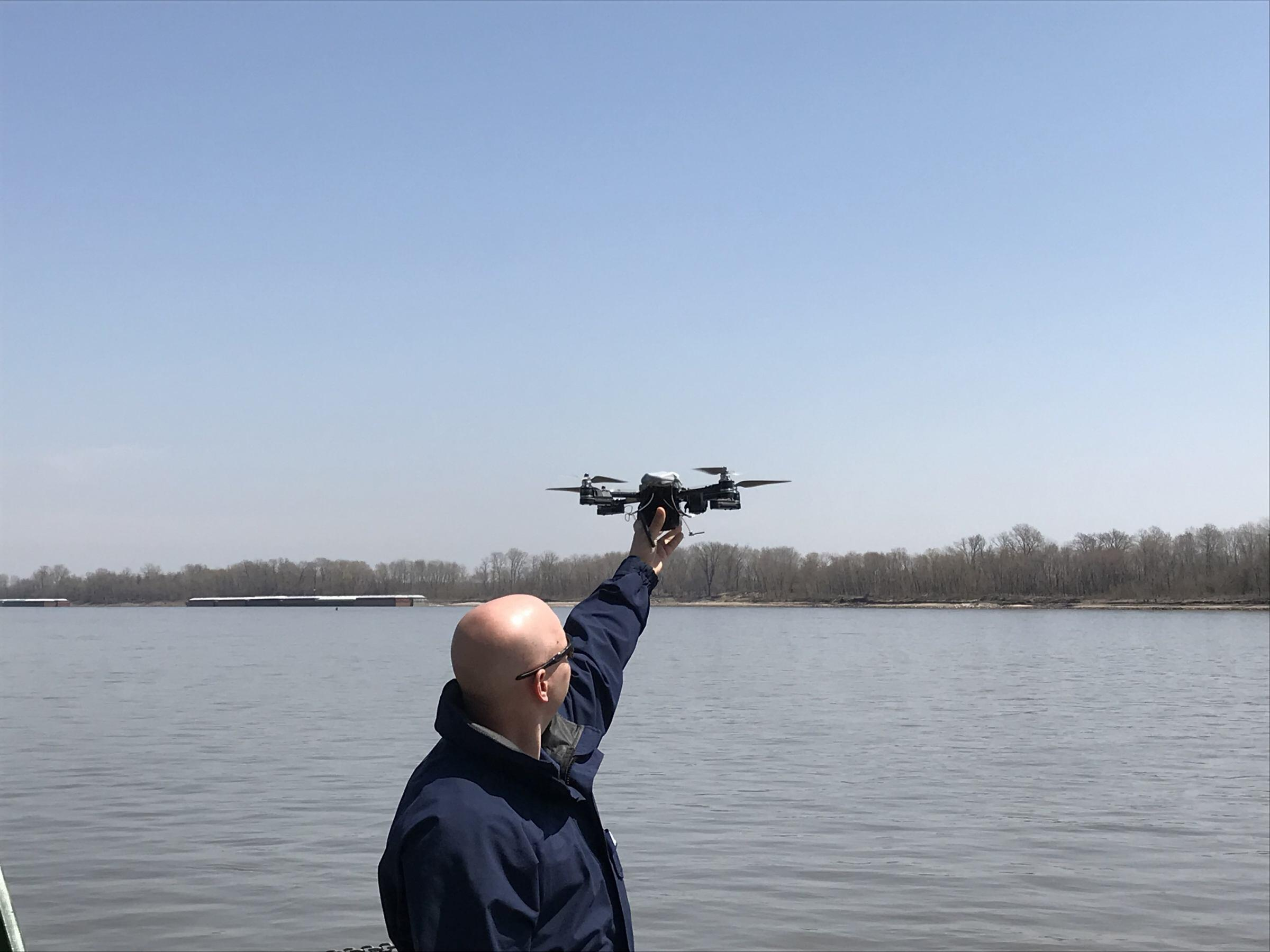 RASP participant sets his drone for takeoff in another RASP demonstration at Singing River Island