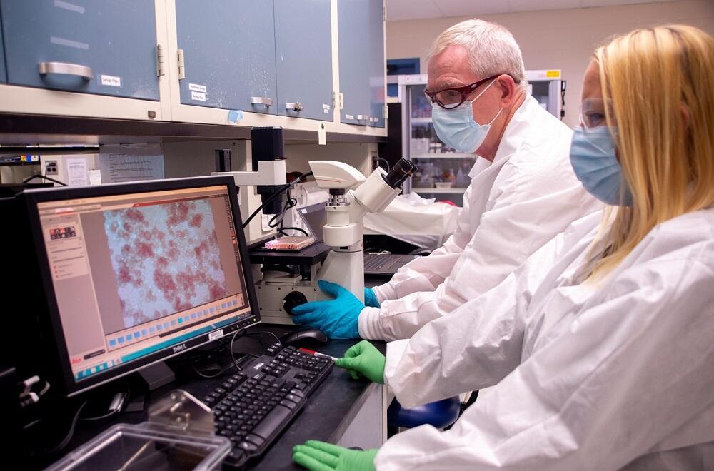 Plum Island Animal Disease Center / PIADC scientists examine materials.