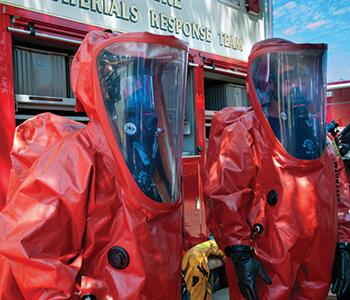 responders in bioprotection suits