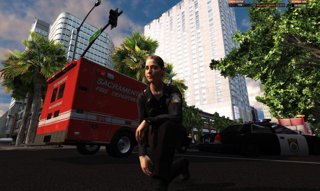 EMS avatar kneels in front of an ambulance in the EDGE virtual training hotel environment