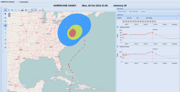 A screen shot of the HURREVAC-eXtended platform, displaying Hurricane Sandy, Mon, 29 Oct 2012 21:00, Advisory 30.