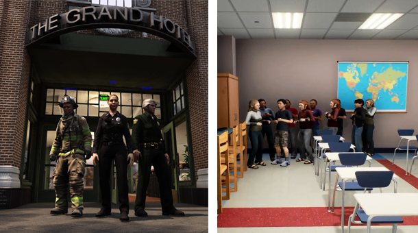 (Left) EDGE firefighter, EMS, and law enforcement avatars pose in front of virtual hotel (Right) School children avatars huddle in the corner of an EDGE virtual school.
