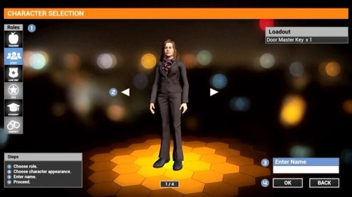 EDGE virtual training character selection screen with a female teacher avatar selected. This screen allows trainees to choose character role, character appearance and character name.