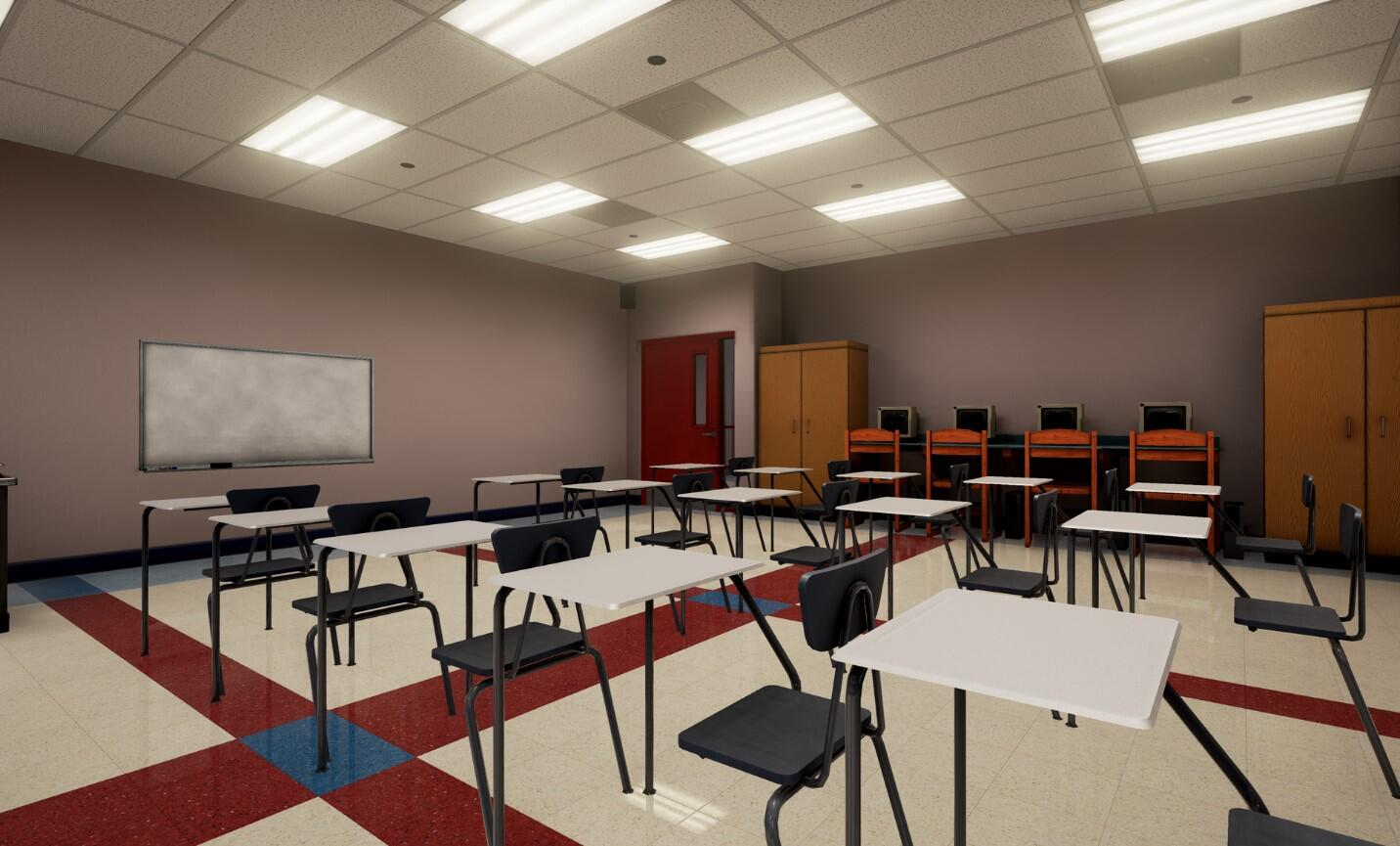 The EDGE virtual training school environment empty classroom