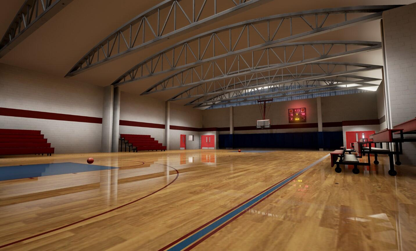 The EDGE virtual training school environment empty gymnasium.