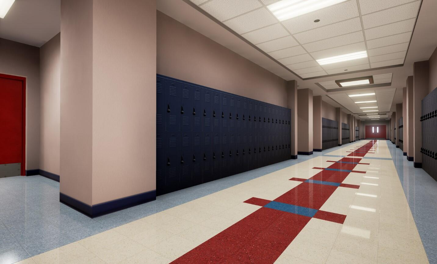 The EDGE virtual training school environment empty hallway and exit doors.
