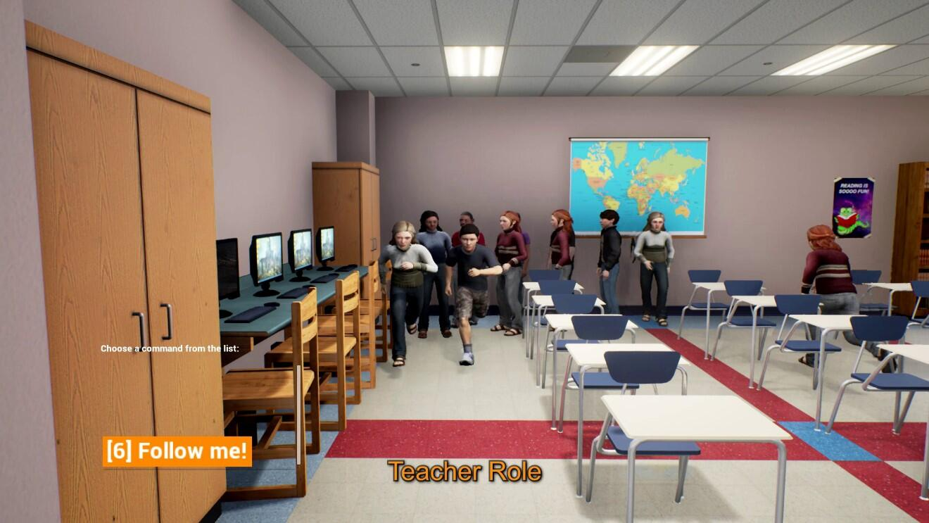 "Students and teacher avatars lined up in the back of the EDGE virtual training classes starting to run towards the exit. The teacher is telling the students ""Follow me!"""