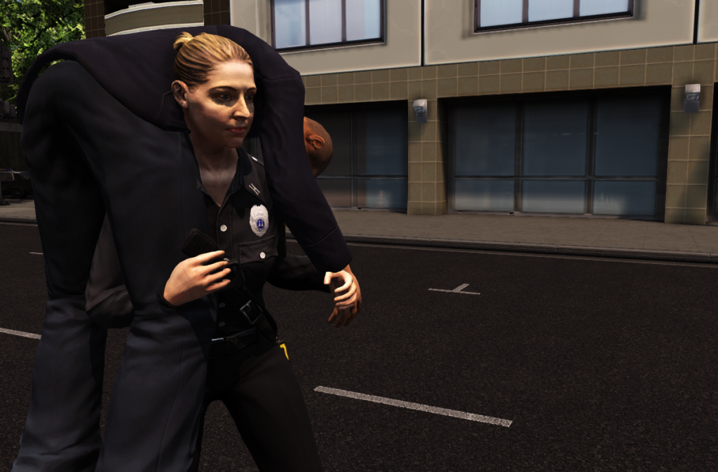 EDGE EMS avatar carries a wounded civilian to the triage area outside of the hotel