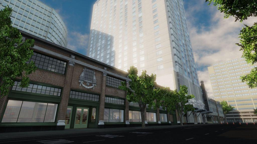 Screen shot of the EDGE virtual training environment depicting the street view of the hotel