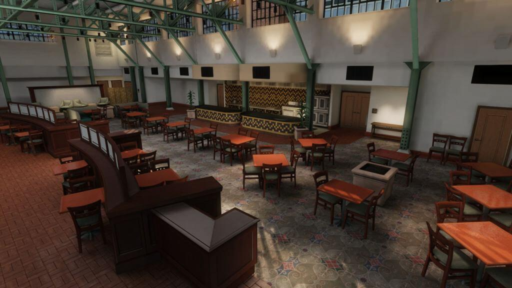 Screen shot of the EDGE virtual training environment depicting the hotel lobby restaurant.