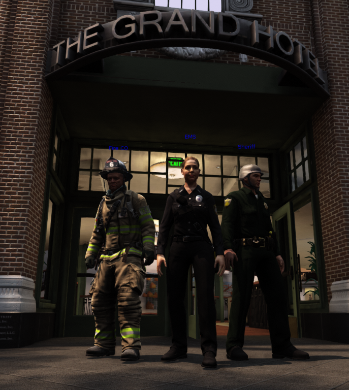 EDGE firefighter, EMS, and law enforcement avatars pose in front of virtual hotel