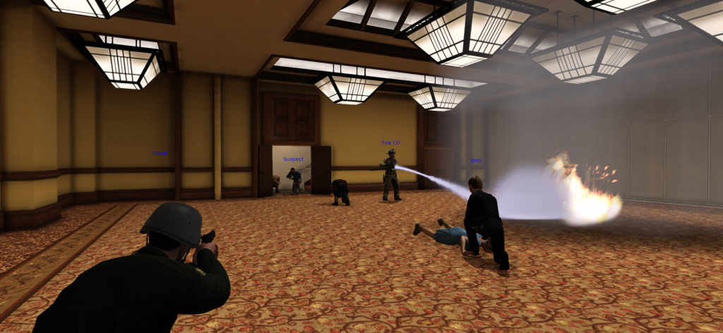 EDGE law enforcement and firefighter avatars join forces to combat a burning fire and active shooter in the virtual hotel ballroom