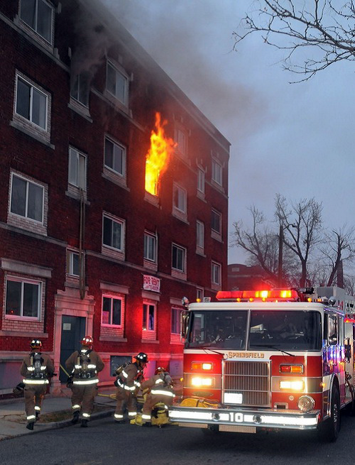A fire truck equipped with an in-vehicle LTE solution can extend firefighters' communications range into subbasement levels of a large brick apartment complex.