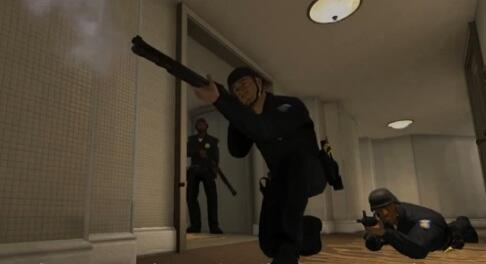 EDGE law enforcement avatars kneel with weapons drawn in a virtual hotel hallway