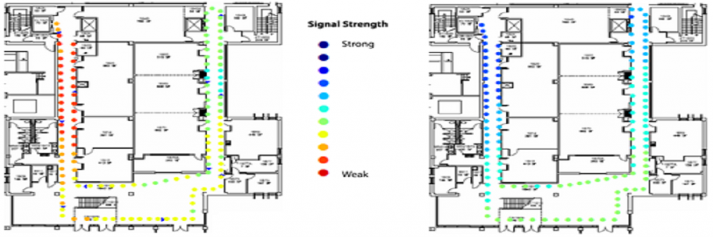 Diagram of an improved in-building communications as a critical need; diagram displays signal strength of strong to weak.