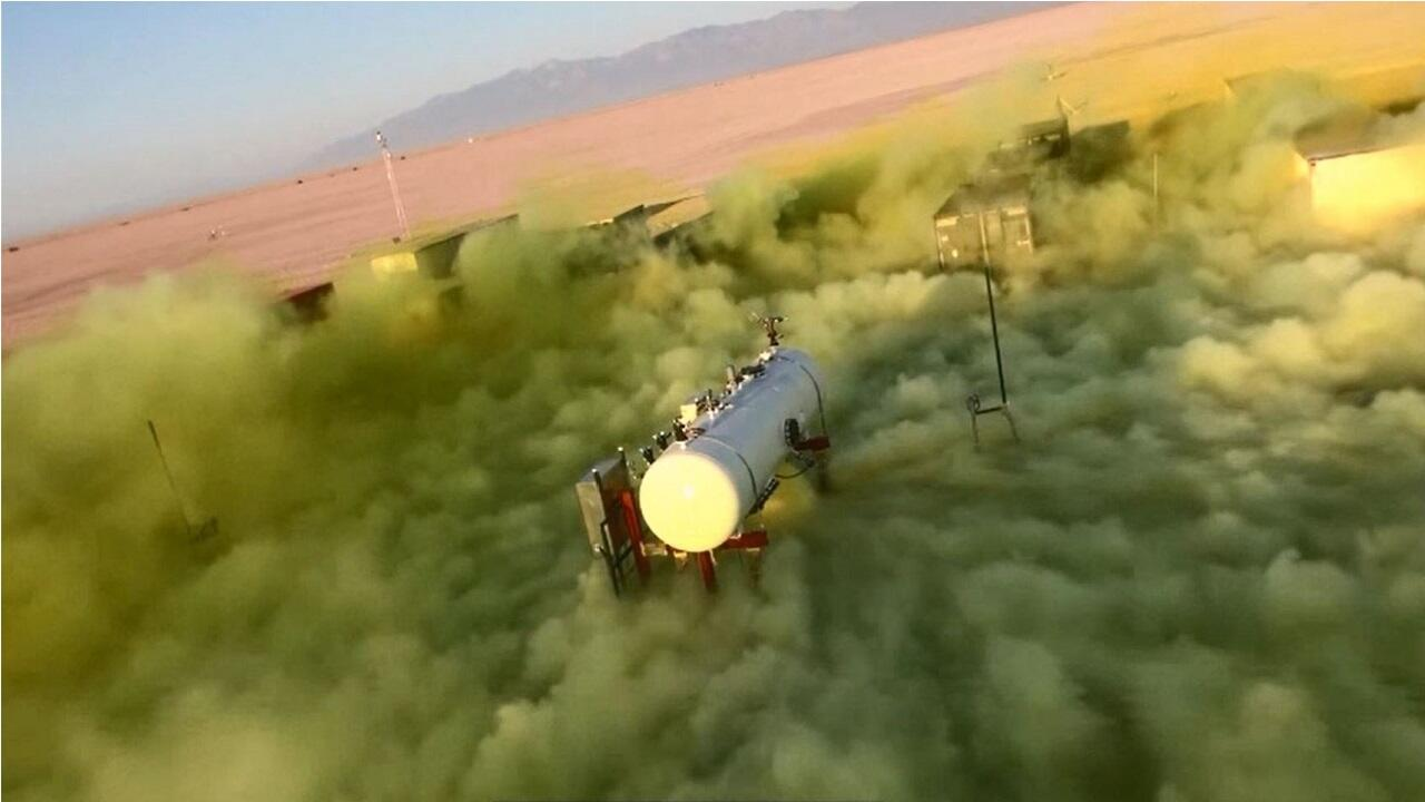 Chlorine surging from a 5-ton tank in Dugway Proving Ground in Utah. The gas stays close to the ground as it is 2.5 times heavier than air.