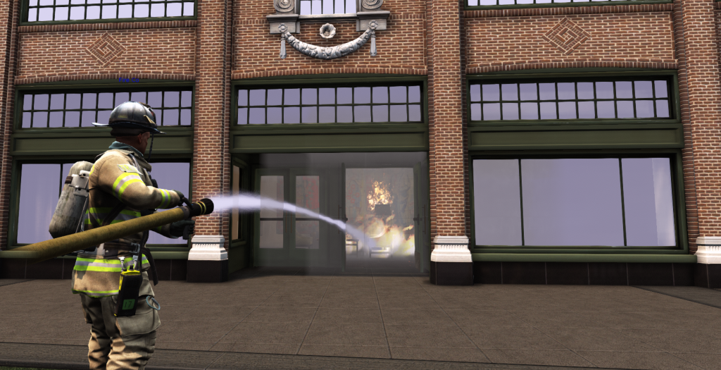 EDGE Firefighter avatar sprays hose into a burning building