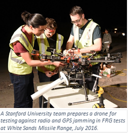 A Stanford University team prepares a drone for testing against radio and GPS jamming in FRG tests at White Sands Missile Range, July 2016.