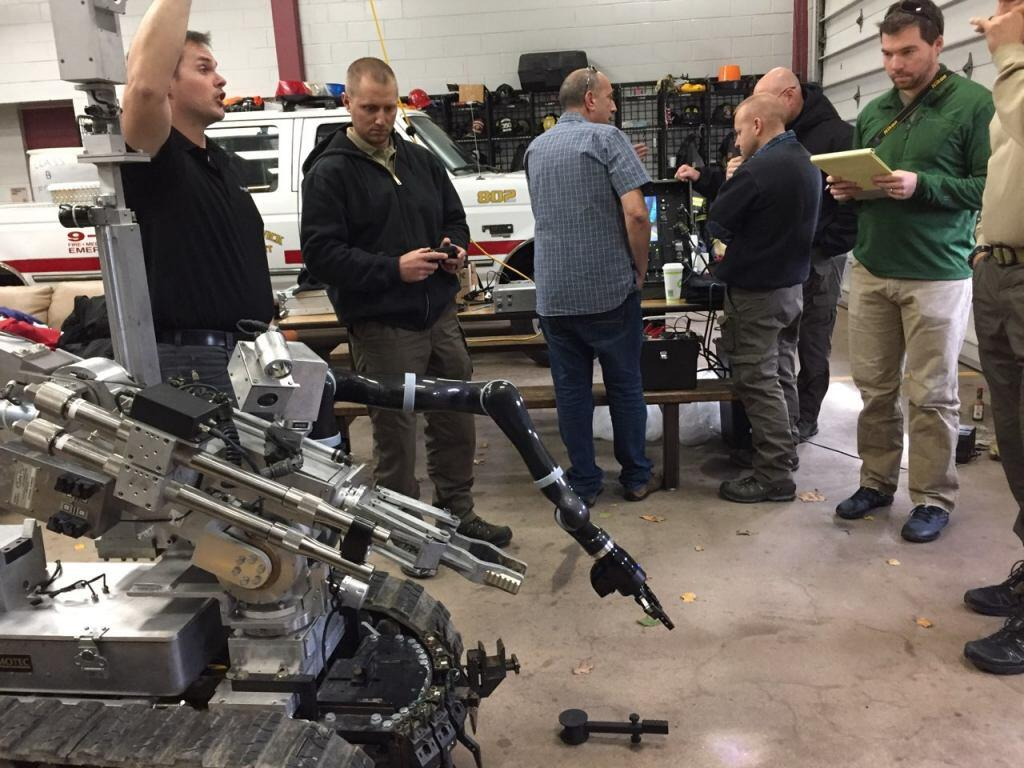 Demo of EOD Robot prototype by DHS S&T's First Responders Group and Israel National Police at New Jersey State Police (New Brunswick, NJ Nov 2017).