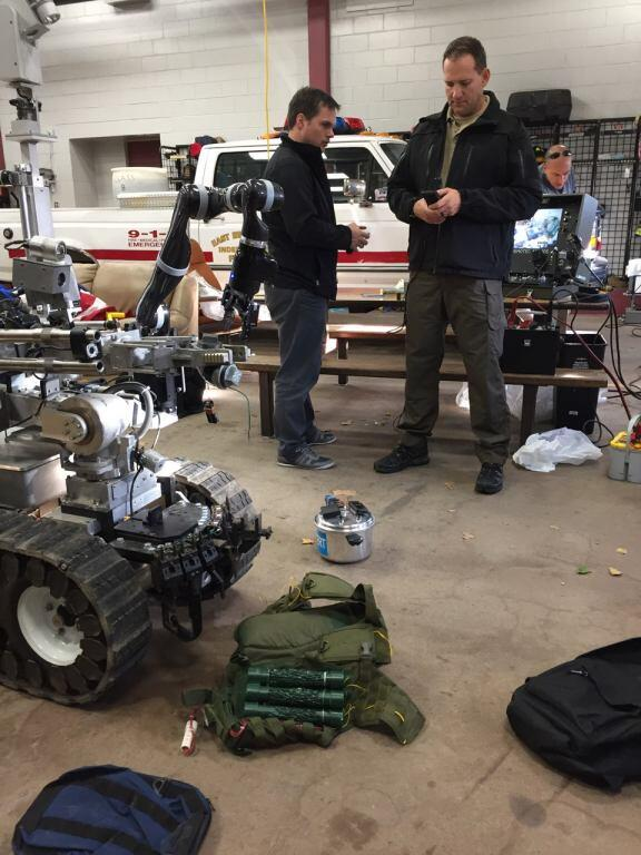 Demo of EOD Robot prototype by DHS S&T's First Responders Group and Israel National Police at New Jersey State Police (New Brunswick, NJ Nov 2017. Image courtesy of DHS S&T)
