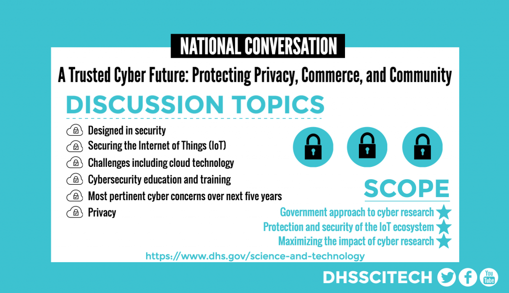 NATIONAL CONVERSATION  A Trusted Cyber Future: Protecting Privacy, Commerce, and Community DISCUSSION TOPICS Cybersecurity education and training Securing the Internet of Things (IoT). Challenges including cloud technology Government approach to cyber research Protection and security of the IoT ecosystem Maximizing the impact of cyber research Most pertinent cyber concerns over next five years  Privacy SCOPE: Government approach to cyber research Protection and security of the IoT ecosystem Maximizing the impact of cyber research https://www.dhs.gov/science-and-technology DHSSCITECH on Facebook, Twitter, and YouTube.