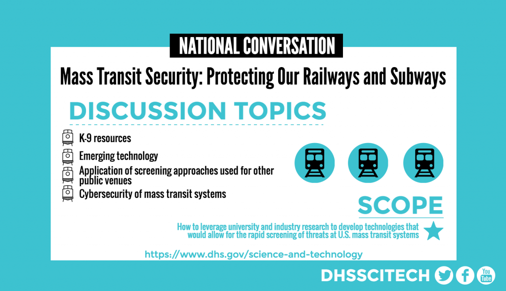 NATIONAL CONVERSATION Mass Transit Security: Protecting Our Railways and Subways DISCUSSION TOPICS Cybersecurity of mass transit systems Emerging technology Application of screening approaches used for other public venues SCOPE How to leverage university and industry research to develop technologies that would allow for the rapid screening of threats at U.S. mass transit systems https://www.dhs.gov/science-and-technology DHSSCITECH on Facebook, Twitter, and YouTube.