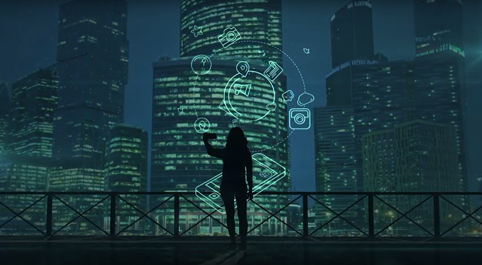 AUDREY concept image. Woman standing in front of a smart phone with different app icons, with a city backdrop.