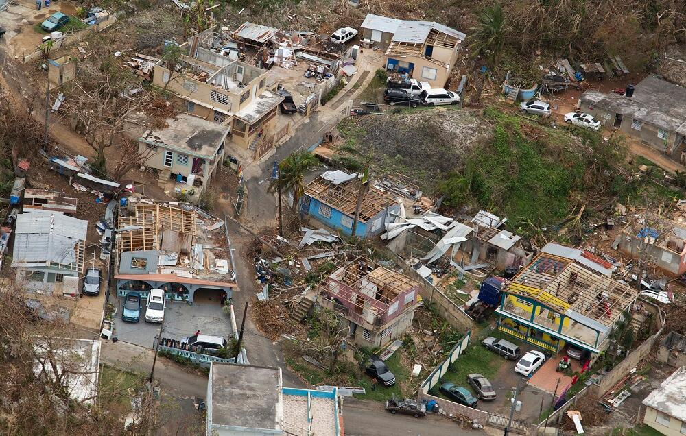 Aerial view shows homes that were left roofless in Puerto Rico, due to the strong winds brought by Hurricane Maria.