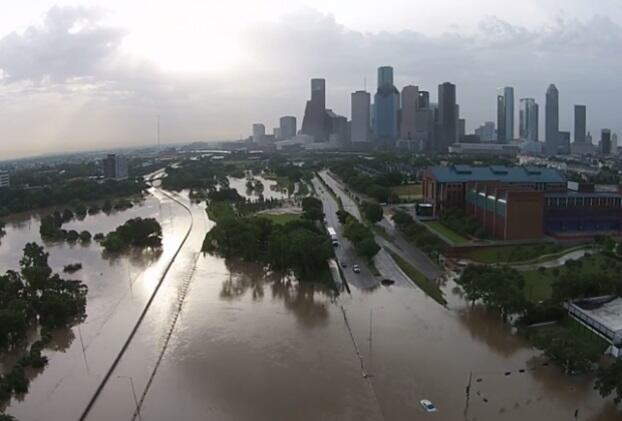 An overview of a flood area in Houston.