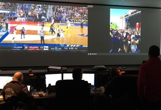 Security area monitoring the 2016 NCAA Men's Final Four Basketball tournament
