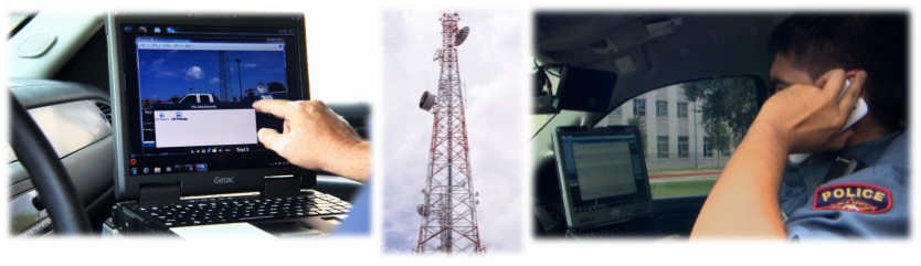 A hand using a police car computer dispaching system; A satellite tower; A police officer using a hand held device inside a police car.