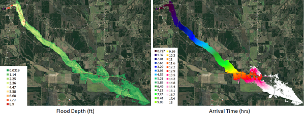 Dam-break flood maps for Mantee Lake Dam in Mississippi computed using DSS-WISE™ Lite show flood depth (left) and arrival time (right). By Dr. Mustafa Altinakar