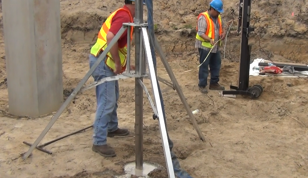 Engineers use the Soil Probe to test the stability of a bridge foundation near the Atlantic coast in Wilmington, N.C.