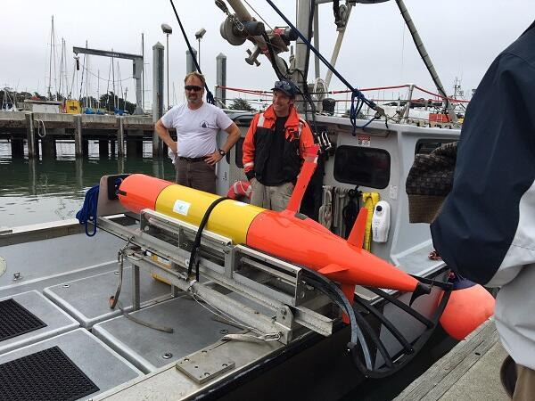 Onboard the research vessel, the 3-D oil scanning robot LRAUV is ready to test its new configuration. Photo by U.S. Coast Guard.