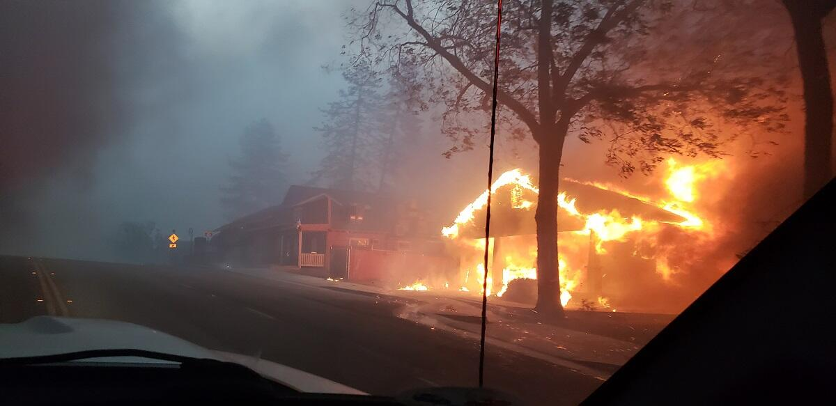 Camp fire in the town of Paradise, California. Photo courtesy of Roseville Fire Department, California