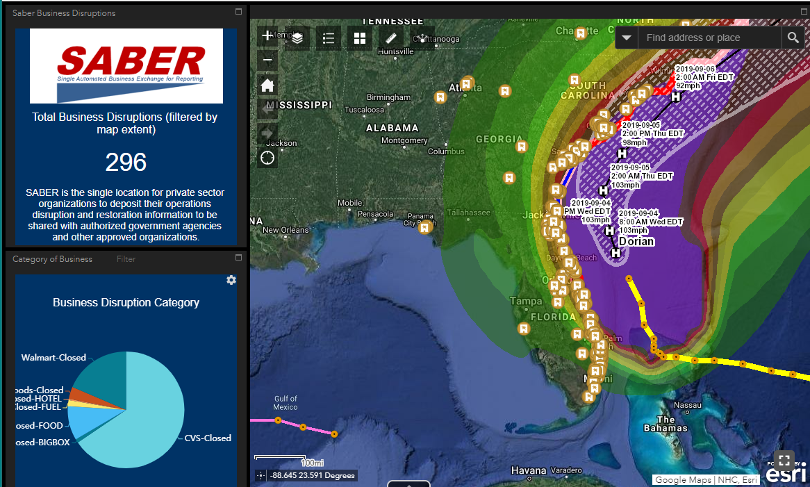SABER status in an ArcGIS application developed by the U.S. Department of Homeland Security.