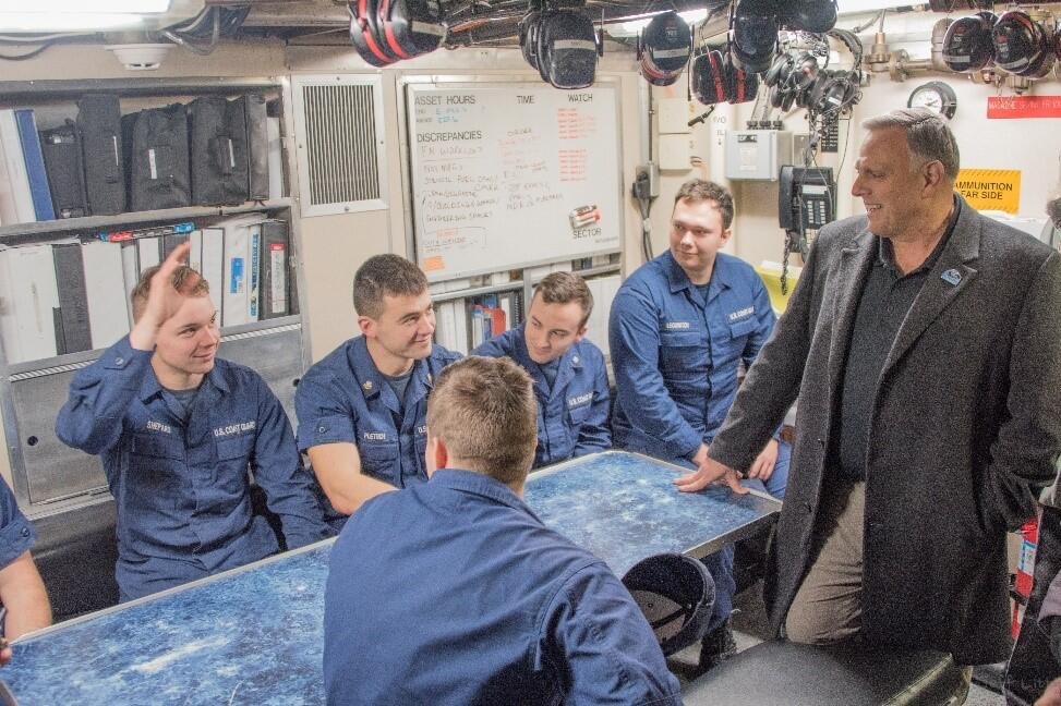 Mr. Bryan met with the crew of the Coast Guard Cutter Mustang in Whittier, Alaska. He learned about the operational challenges posed by communication limitations in the Arctic.