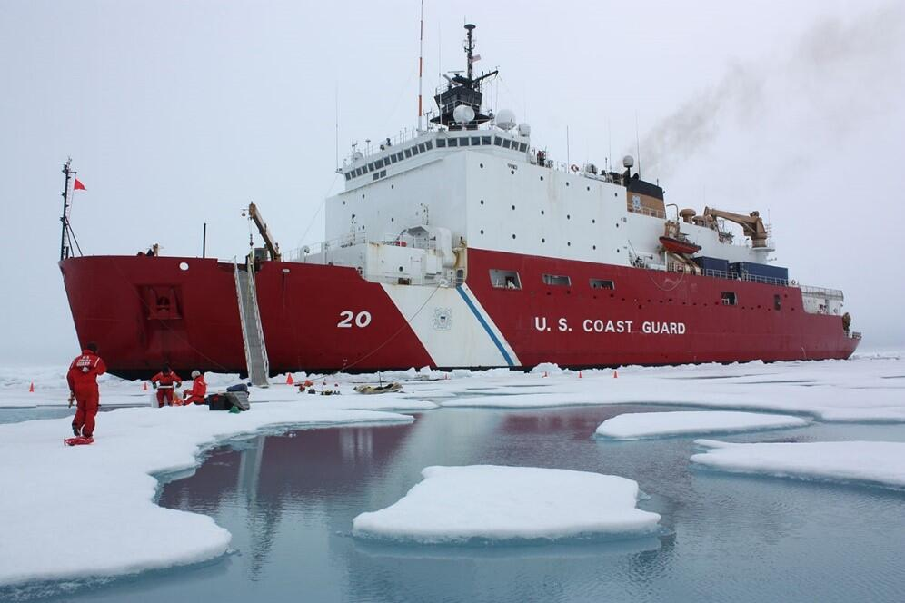 U.S. Coast Guard ship in ice water.