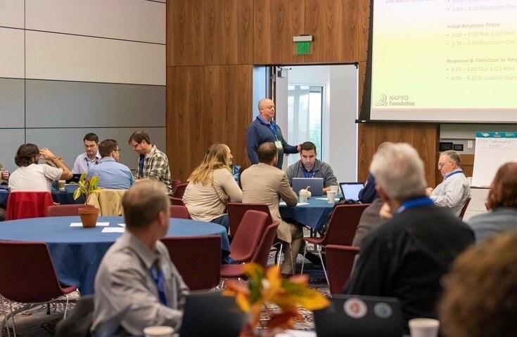 Michael Chard, Director of Emergency Management for the city of Boulder, Colorado, facilitates a hands-on tabletop exercise.