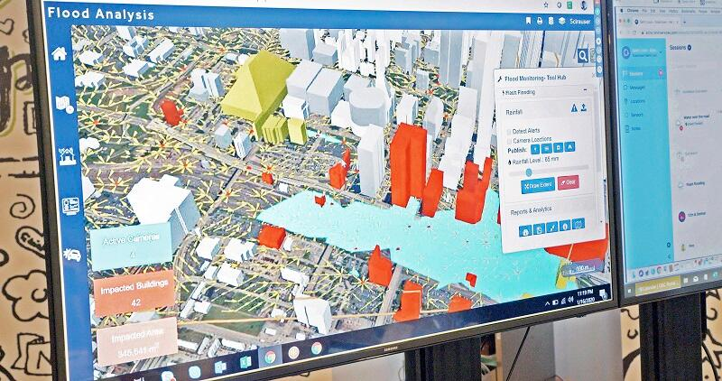 During the SCIRA exercise, a 3D flood analysis model shows city flooding.