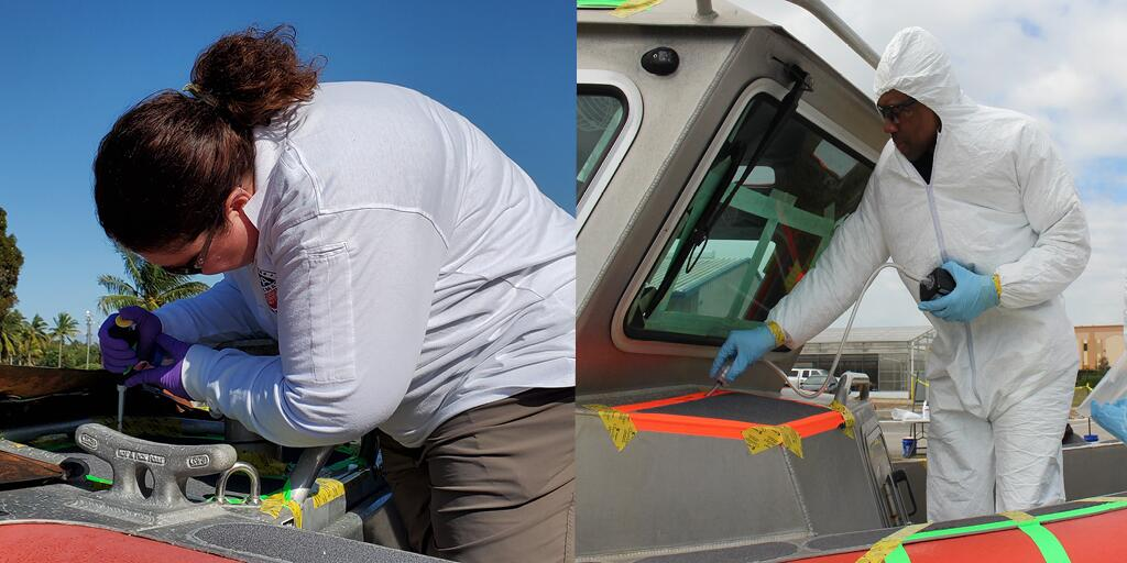 During the decontamination demonstration, participants contaminate (inoculate) different surfaces on the boat with anthrax-like benign spores (left) and then take samples before and after each decontamination round (right).