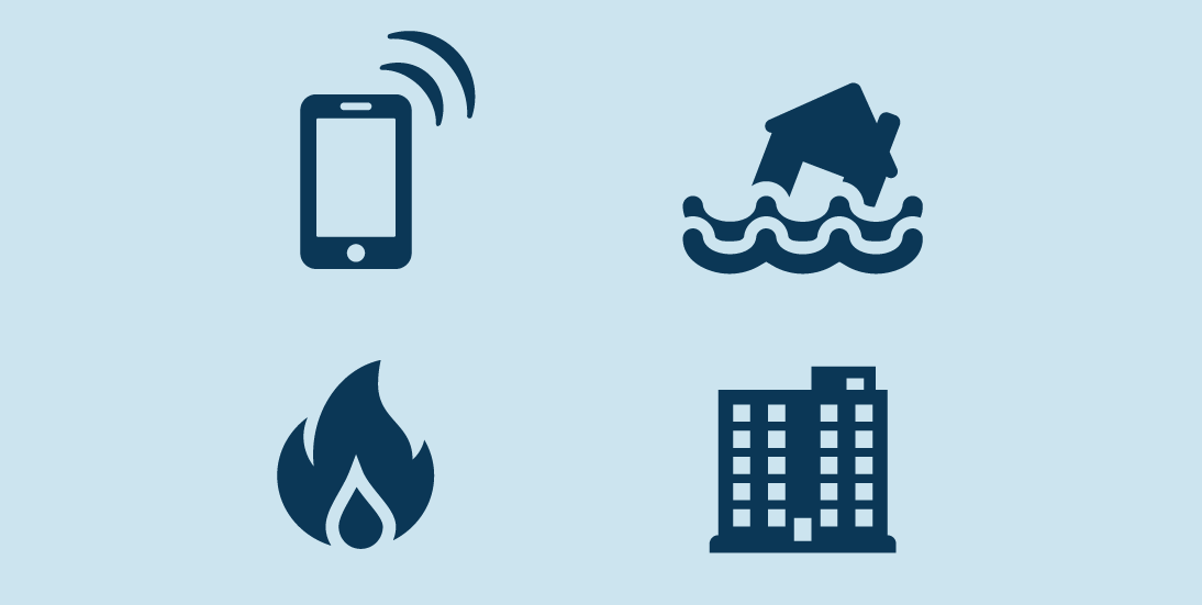 Smart Cities Internet of Things Innovation (SCITI) Labs. A smart phone, house flooding, fire and building.