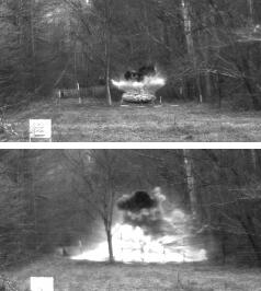 Results from coated (top) and uncoated ammonium nitrate–packed drums. Most of the blast in the top photo is from the C4 plastic explosive used to initiate the blast