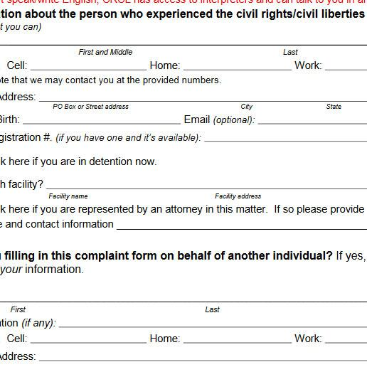 Make A Civil Rights Complaint Homeland Security