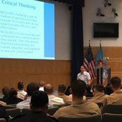 Chief Petty Officer Brynn Simonetti teaches a leadership course to over 700 junior enlisted members from all five services at the 2018 NCO Joint Leadership Conference, May 1, 2018, at the National Defense University on Fort McNair.
