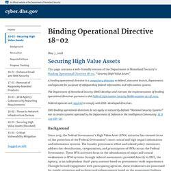 DHS Releases Binding Operational Directive With New Procedures For Securing Federal High Value Assets
