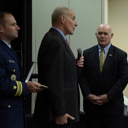 Secretary Kelly honors Director Clancy with the Department of Homeland Security Distinguished Public Service Medal.